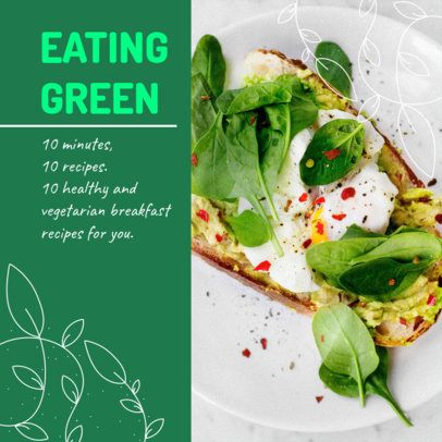 Instagram Post Template for Healthy and Vegetarian Breakfast Recipes 2526j