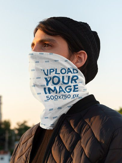 Neck Gaiter Mockup of a Man Watching the Sunrise 36086