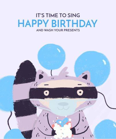 Kid's T-Shirt Design Creator Featuring a Raccoon Illustration 2528k