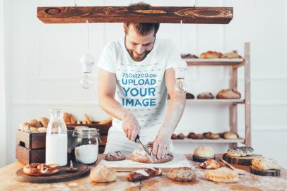 T-Shirt Mockup of a Baker Making Pastries 34265-r-el2