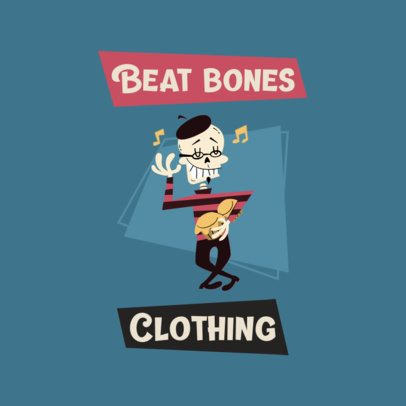 Clothing Brand Logo Creator Featuring a Dancing Skeleton Drawing 3227i