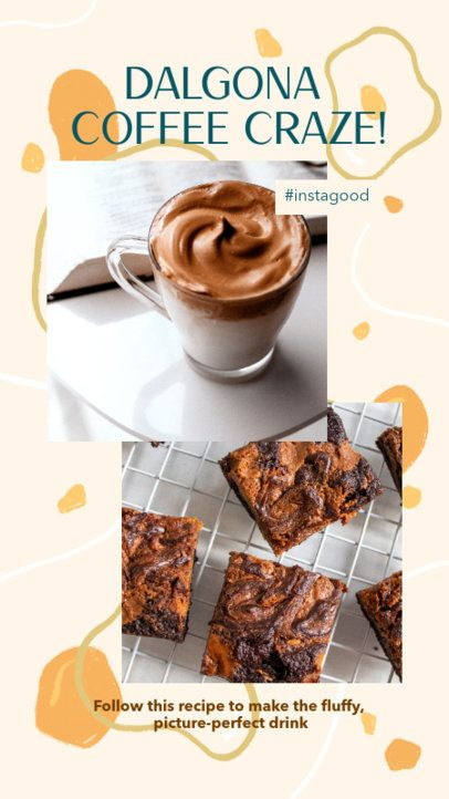 Instagram Story Template with a Dalgona Coffee Recipe 2525a