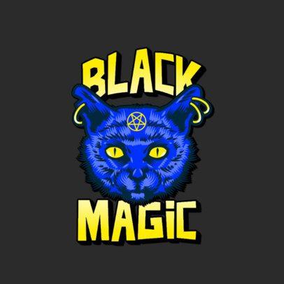Streetwear Logo Template with a Black-Magic Cat Illustration 3266e