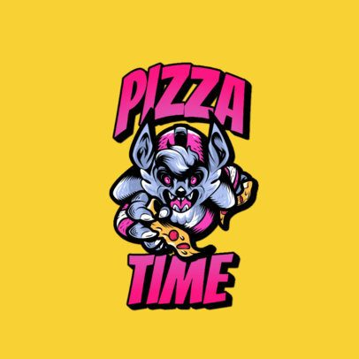 Clothing Brand Logo Generator with an Aggressive Animal Grabbing a Pizza 3266c