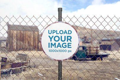 Mockup of a Circular Rusted Sign on an Urban Setting 4131-el1