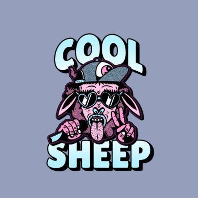 Streetwear Logo Maker with a Hip Hop Sheep Cartoon Character 3266z