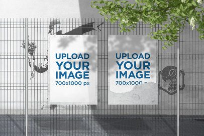 Mockup of Two Posters Placed on a Wire Fence 4136-el1