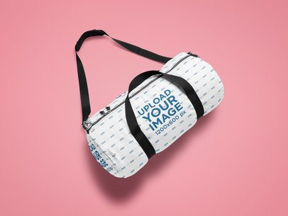Mockup of a Sublimated Duffle Bag on a Solid Surface 25321