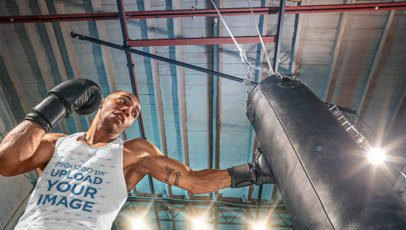 Tank Top Mockup of a Man Training with a Boxing Bag 34593-r-el2
