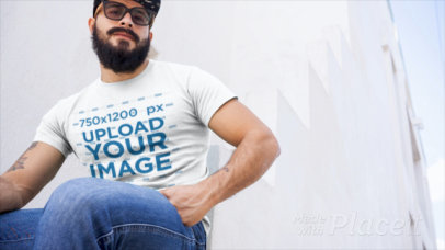 T-Shirt Video of a Strong Bearded Man 12267