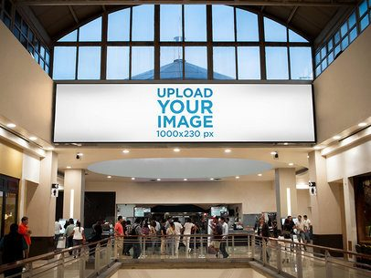 Horizontal Banner Mockup at a Cinema b10929