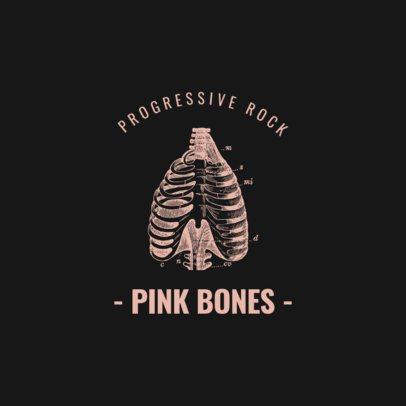 Logo Template for a Progressive Rock Band Featuring a Rib Cage Illustration 1633d-el1