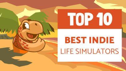 Gaming YouTube Thumbnail Creator for a Top 10 Life Simulators 2555g