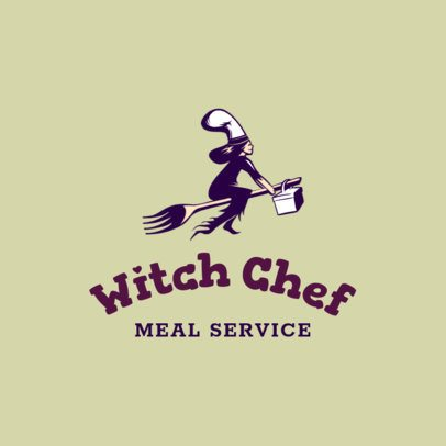Food App Logo Template Featuring a Witch Riding a Fork 3298j