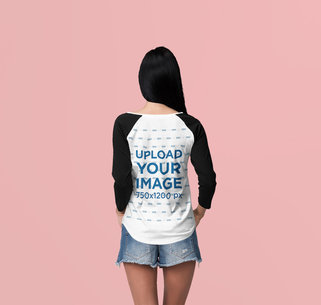 Back View of a Woman with a Raglan Long Sleeve Tee at a Studio 4370-el1