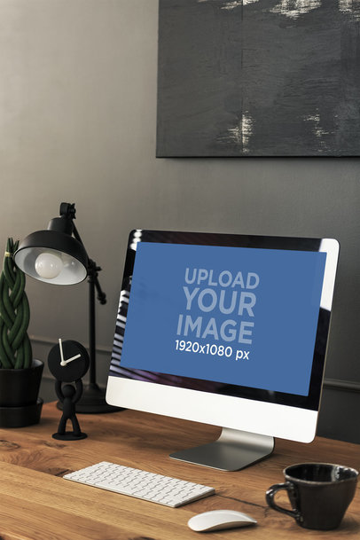 Mockup of an iMac Featuring a Wooden Desk in a Home Office Setting 36558-r-el2