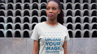 T-Shirt Video of a Woman with Locks and Purple Lipstick 12989