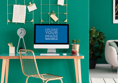 Mockup of an iMac in a Neat Home Office 36940-r-el2