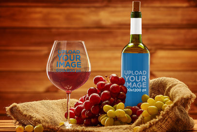 Elegant Mockup of a Wine Glass and a Bottle in a Wooden Setting 36823-r-el2