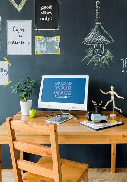 Digital Mockup of a Computer on an Artist's Desktop 36556-r-el2