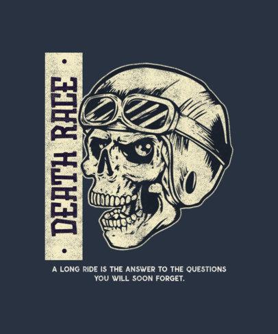T-Shirt Design Template with a Cool Biker Skull 1720a-el1