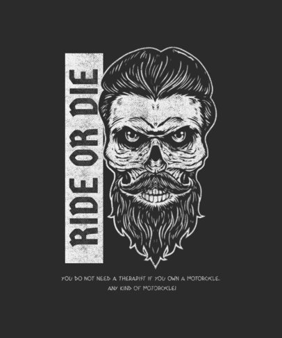 Online T-Shirt Design Template Featuring a Cool Bearded Skull 1720c-el1