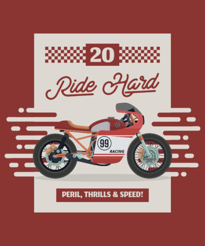 T-Shirt Design Template Featuring a Cool Red Motorcycle 1716c-el1