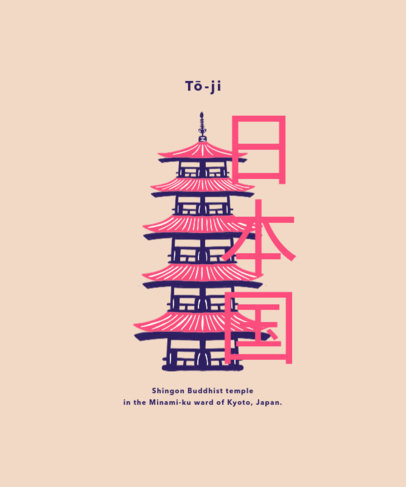 T-Shirt Design Generator Featuring Japanese Landmarks 1685-el1