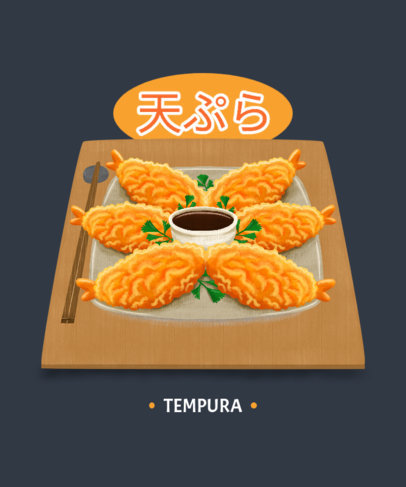 Illustrated T-Shirt Design Template with Asian Food Dishes 1681-el1