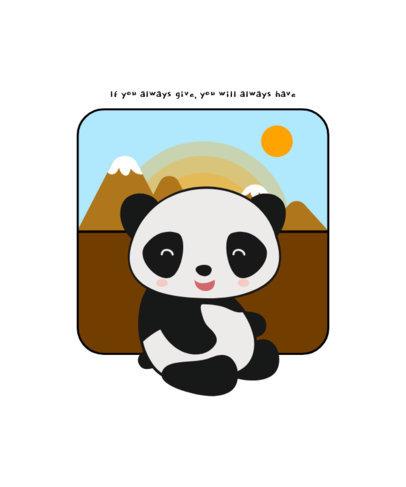 Kids T-Shirt Design Template with a Smiling Panda Cartoon 1703a-el1