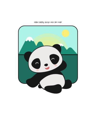Kids T-Shirt Design Generator Featuring an Adorable Panda Graphic 1703b-el1