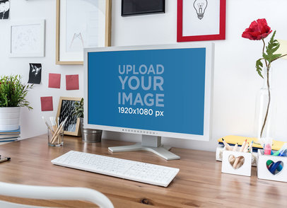 Mockup of a Computer on a Well Organized Home Office Desk 36563-r-el2