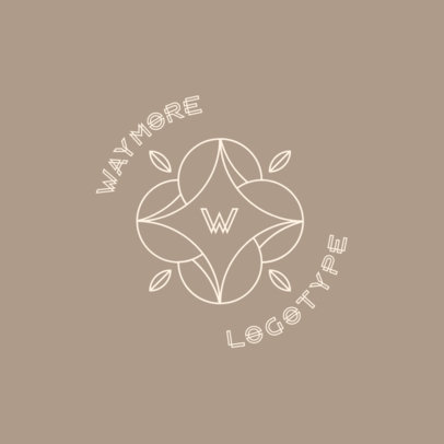 Logo Template Featuring a Capital Letter with an Ornamental Flower 3316i