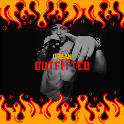 Mixtape Cover Maker for a Rapper Featuring Flame Graphics 2586d