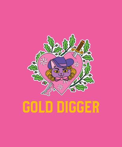 T-Shirt Design Creator Featuring a Funny Cat in a Heart  2593b