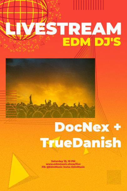 Poster Design Template for an EDM Concert Livestream 2574e
