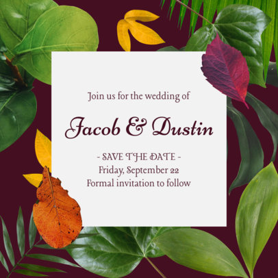 Instagram Post Maker for a Wedding Announcement Featuring Tropical Flower Graphics 2583i