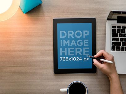 iPad Black Portrait Top Desk Shot Standard