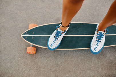 Sneakers Mockup of a Woman on a Longboard 36537-r-el2