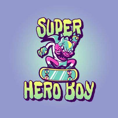 Streetwear Brand Logo Maker Featuring a Skater Cartoon 3329n