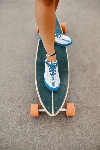 Sneakers Mockup of a Woman Riding a Longboard 36528-r-el2