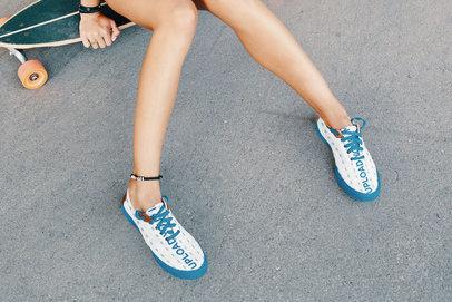 Sneakers Mockup of a Woman Sitting on a Longboard 36530-r-el2