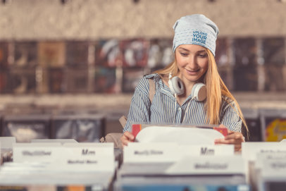 Beanie Mockup of a Woman in a Record Store 37202-r-el2