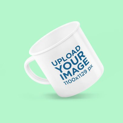 Mockup Featuring an Enamel Mug Floating Against a Colored Backdrop 4498-el1