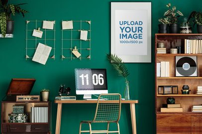 Mockup of a Framed Poster and a Record Displayed in a Cool Studio 36675-r-el2