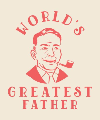 Father's Day T-Shirt Design Template Featuring a Vintage Illustration 2577g-2614