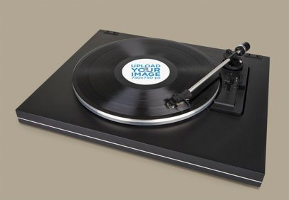 Mockup of a Vinyl Record on a Turntable 37197-r-el2