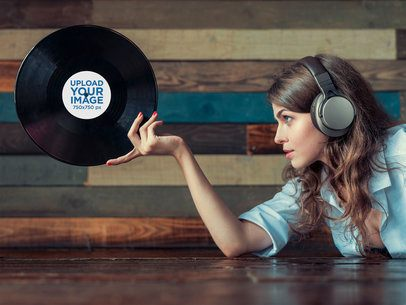 Vinyl Record Mockup Featuring a Woman Posing 36893-r-el2