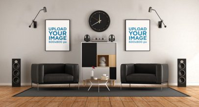 Mockup of Two Posters Hanging in a Musician's Living Room 36956-r-el2