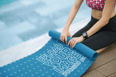 Mockup of a Woman Rolling up Her Yoga Mat After Practice 37058-r-el2